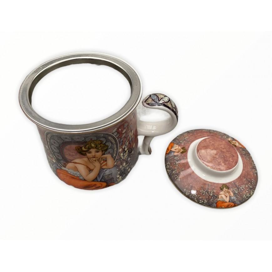 Hrnček na čaj so sitkom a vrchnákom A.MUCHA