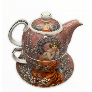 Šálka na čaj s čajníkom a tanierikom A.MUCHA