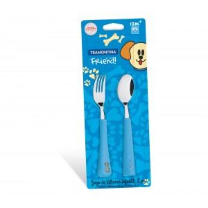 Súprava detského príboru lyžička + vidlička, modrá 2ks