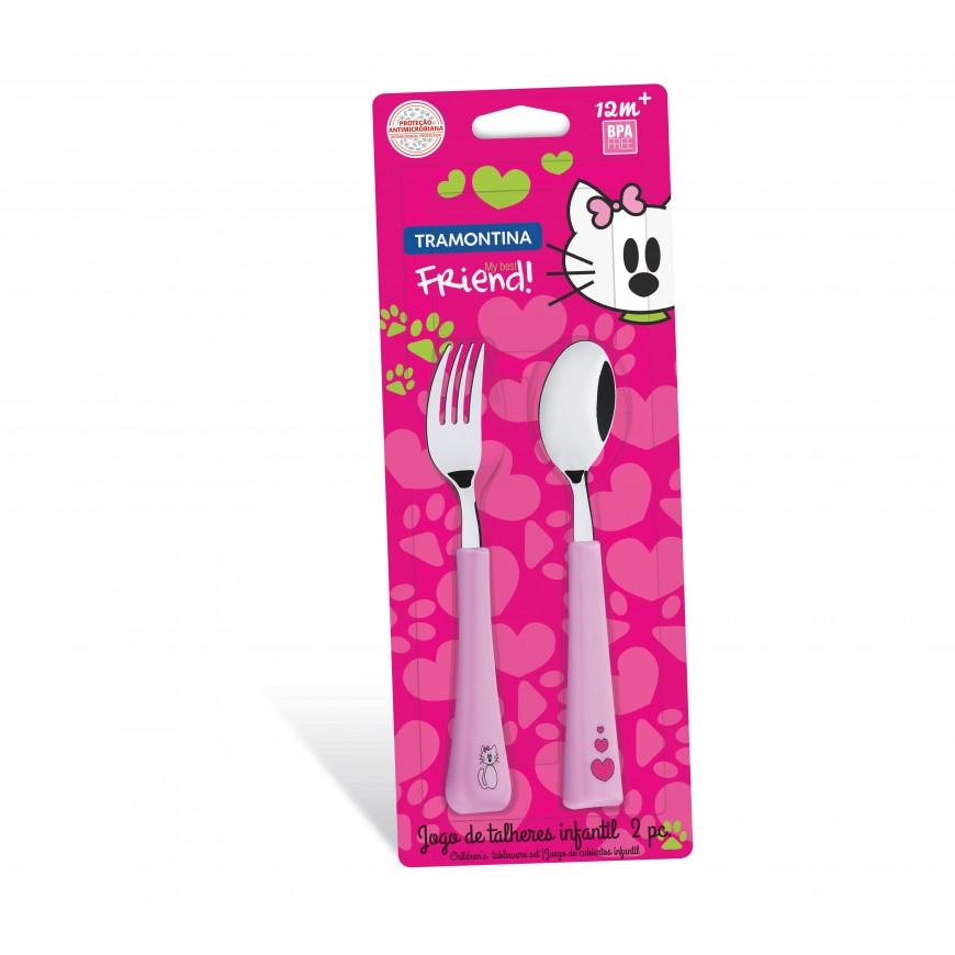Súprava detského príboru lyžička + vidlička, ružová 2ks