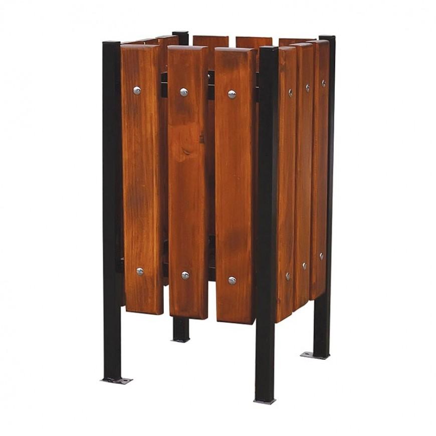 Hranatý dreveno-oceľový kôš