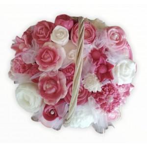 Kytica z mydla v košíku ružovo biela