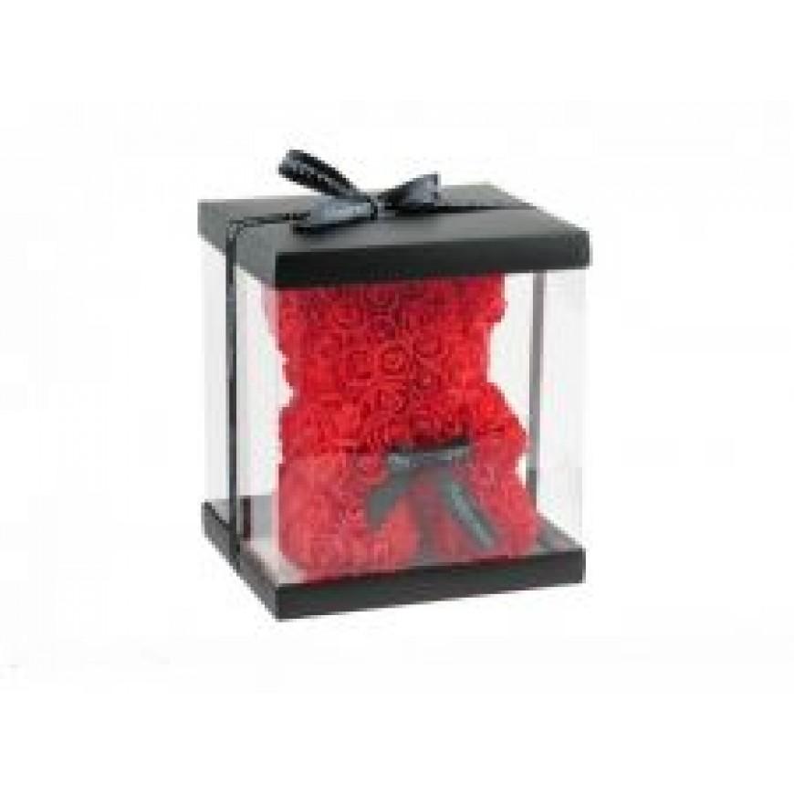 Macko z umelých kvetov červený 24cm