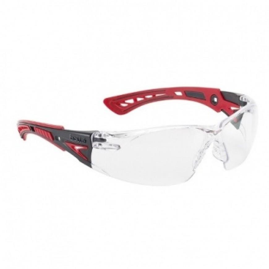 Ochranné okuliare RUSH PLUS červené priezračné