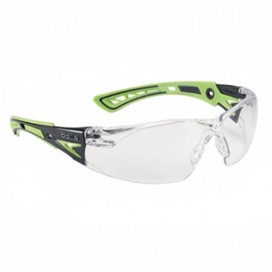 Ochranné okuliare RUSH PLUS zelené priezračné