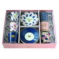 Súprava šálok na kávu 100ml - 6ks ružová/modrá