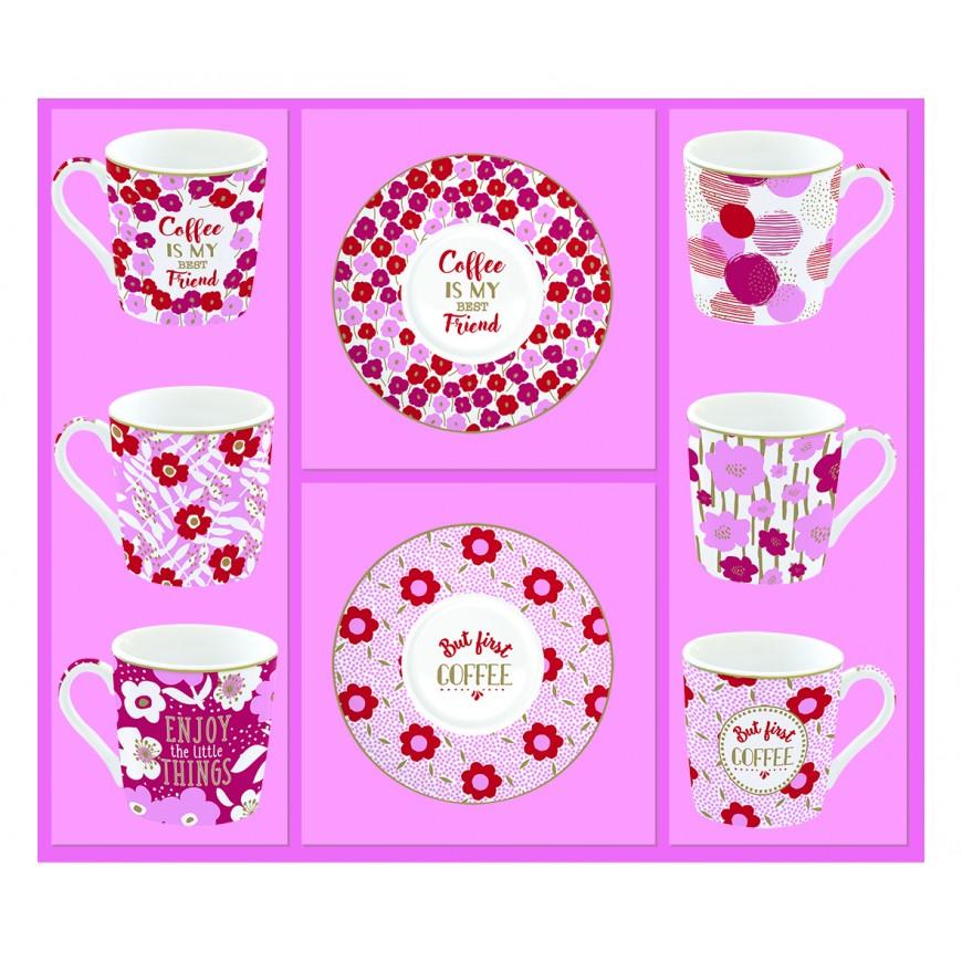 Súprava šálok na kávu 100ml - 6ks ružová/červená