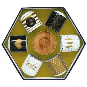 Súprava šálok na kávu 110ml - 6ks čierna/bronzová