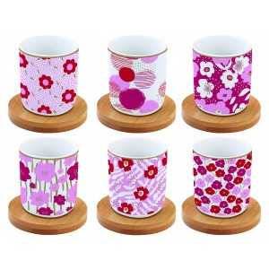 Súprava šálok na kávu 110ml - 6ks ružová/červená