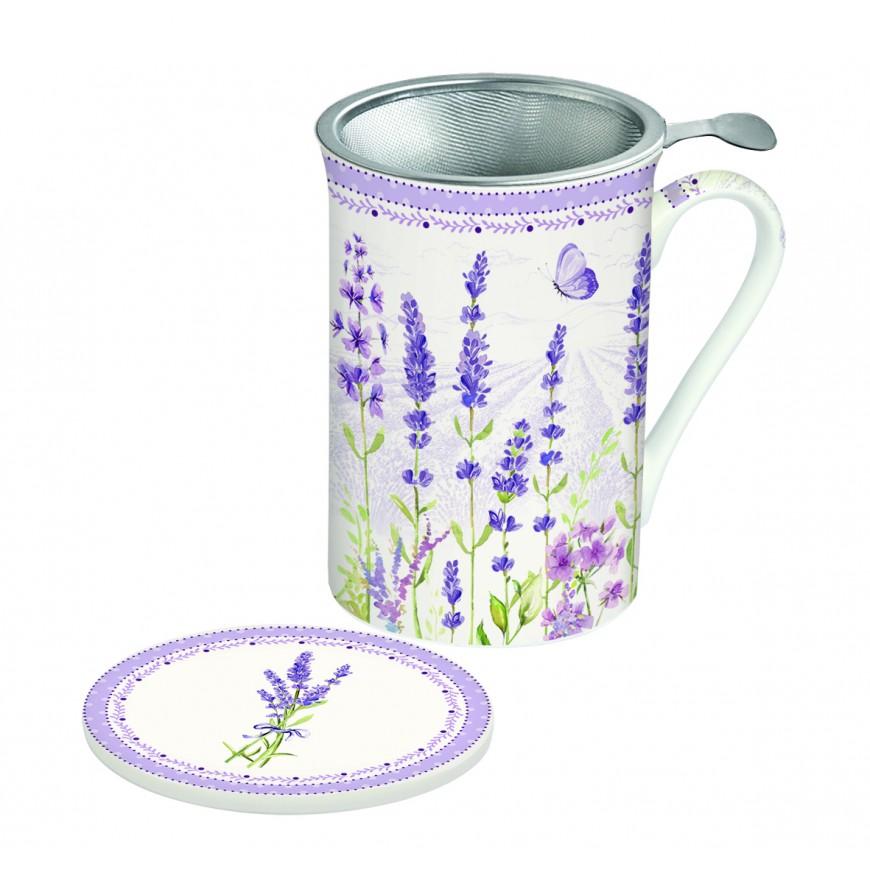 Hrnček na čaj s filtrom s motívom levandula