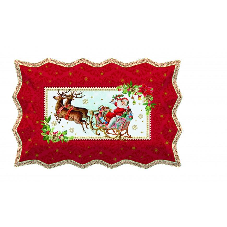 Podnos na zákusky s vianočným motívom 35x23cm