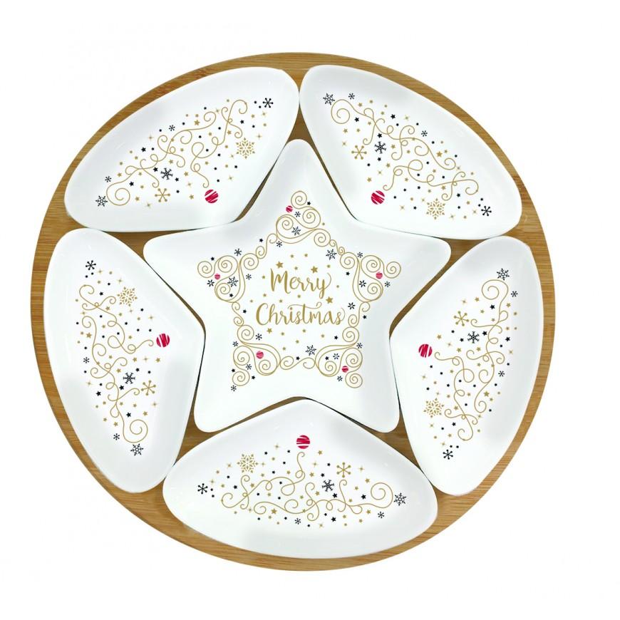 Bambusový podnos s miskami okrúhly Merry christmas