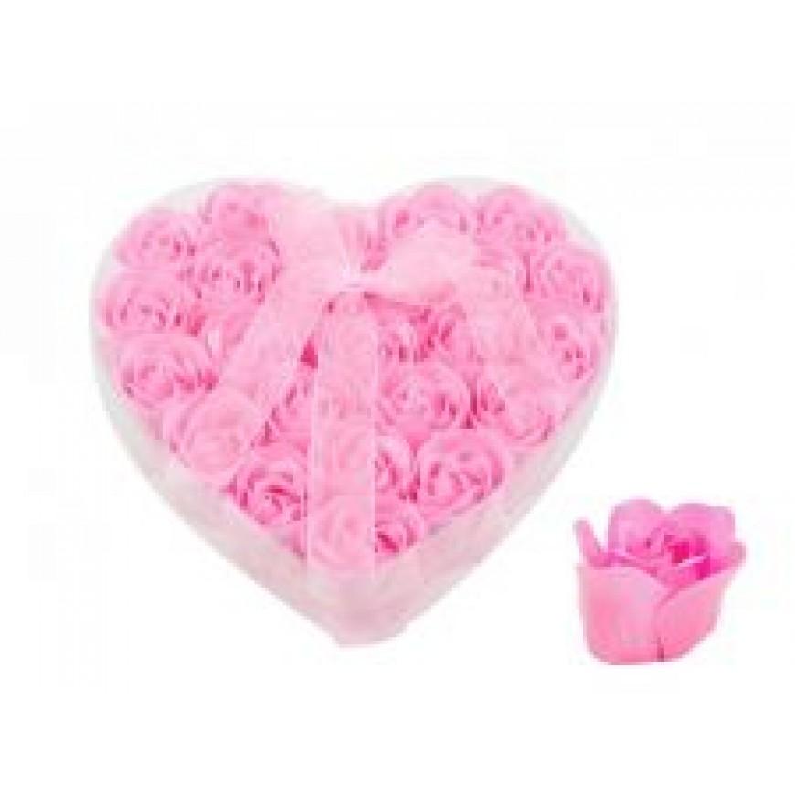 Ruže z mydla, kytica, ružová, 6cm 24ks