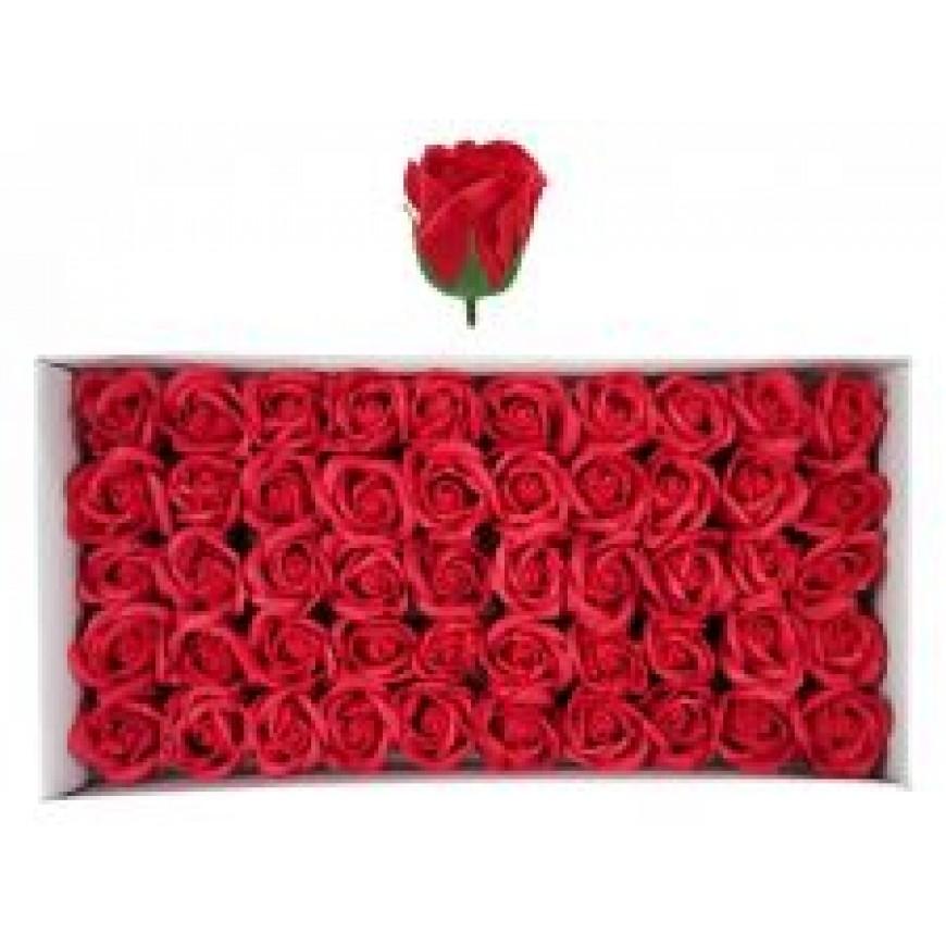 Ruže z mydla, kytica, červená, 6cm 50ks