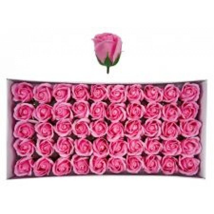 Ruže z mydla, kytica, ružová, 6cm 50ks