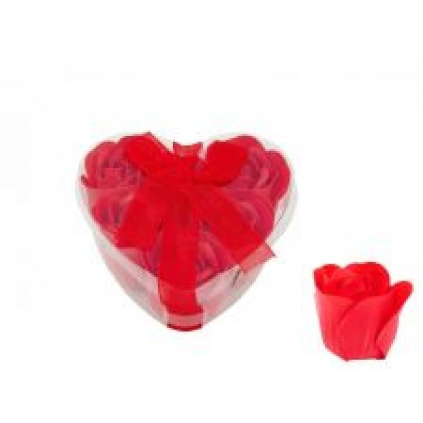 Ruže z mydla, kytica, červená, 4cm 6ks