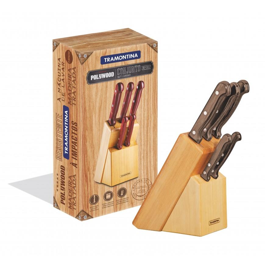 Súprava kuchynských nožov 6ks v drevenom stojane, hnedý