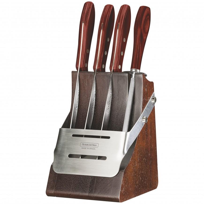 Súprava nožov BBQ 5ks v drevenom stojane, červený