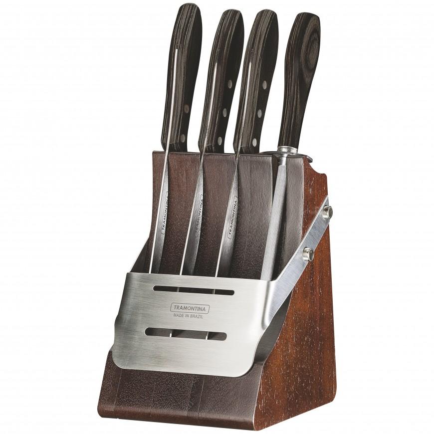 Súprava nožov BBQ 5ks v drevenom stojane, hnedý