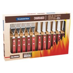 Súprava príborov a steakový nôž 10cm, 12ks v darčekovom balení, červená