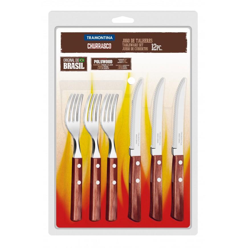 Súprava príborov a steakový nôž 12cm, 12ks v darčekovom balení, červená