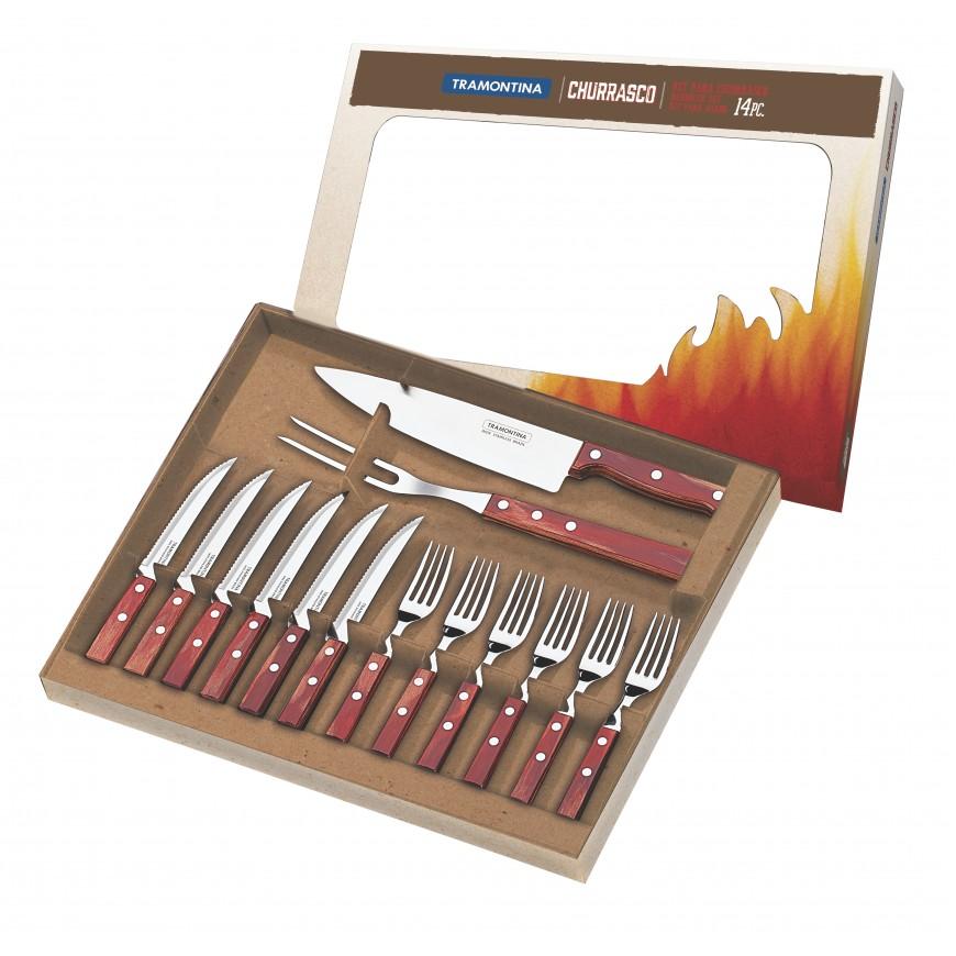 Súprava príborov + vidlica a nôž  14ks v darčekovom balení, červená