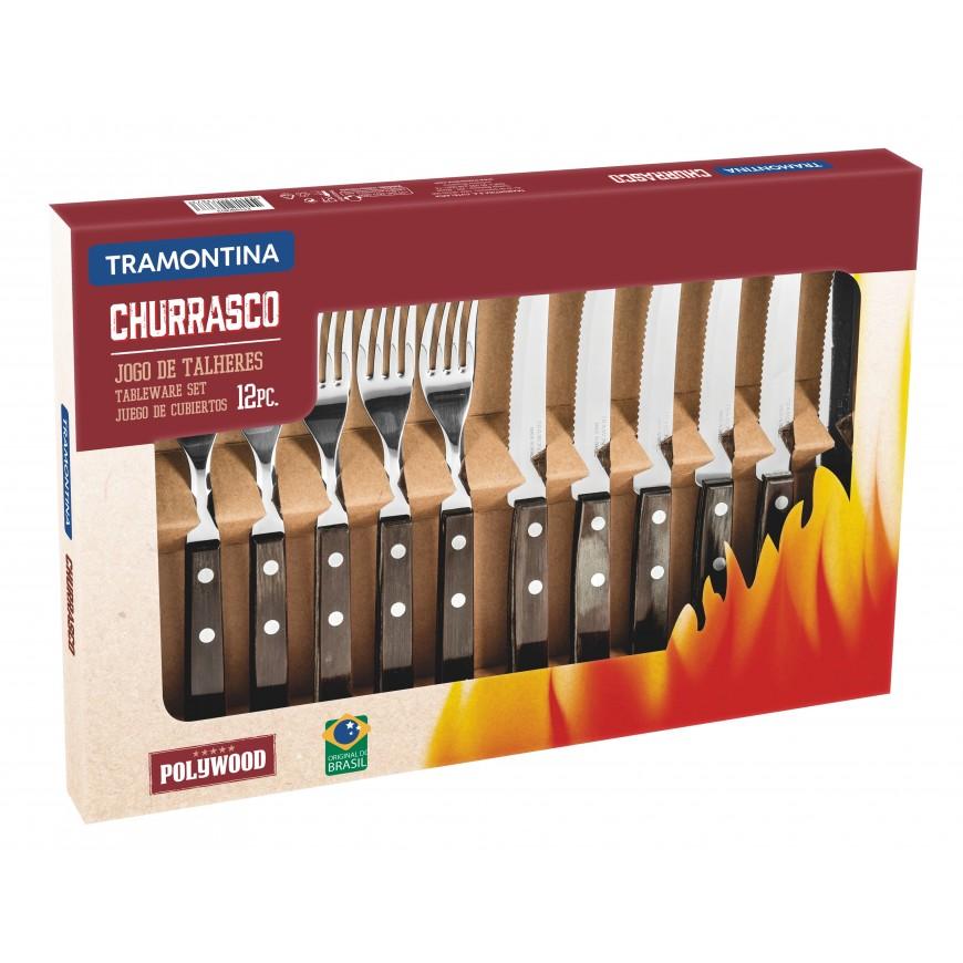 Súprava príborov + steakový nôž 12cm, 12ks v darčekovom balení hnedá