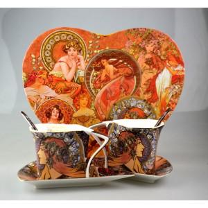 Hrnčeky na čaj s tanierikmi A.Mucha