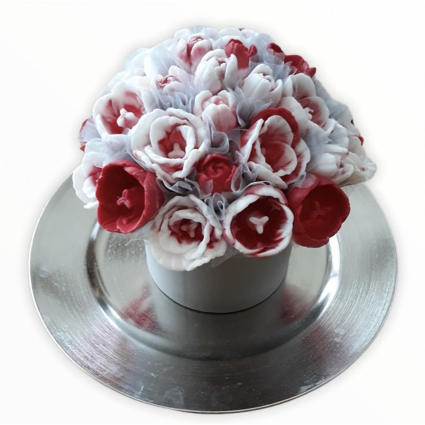 Kytica z mydla v papierovom boxe tulipán, červeno biela