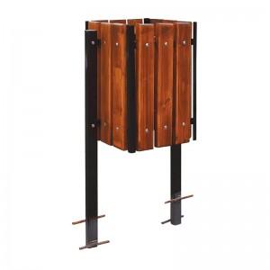Hranatý dreveno-oceľový kôš vysoký