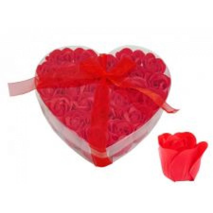 Ruže z mydla, kytica, červená, 4cm 24ks