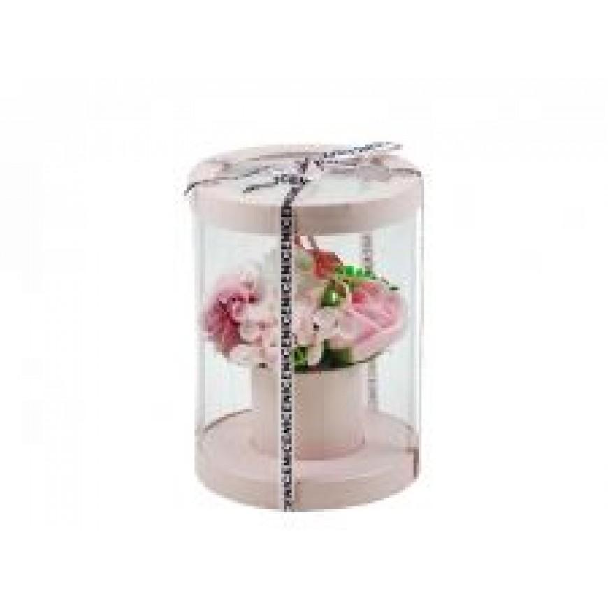 Kvety z mydla, kytica, ružová 15x20cm