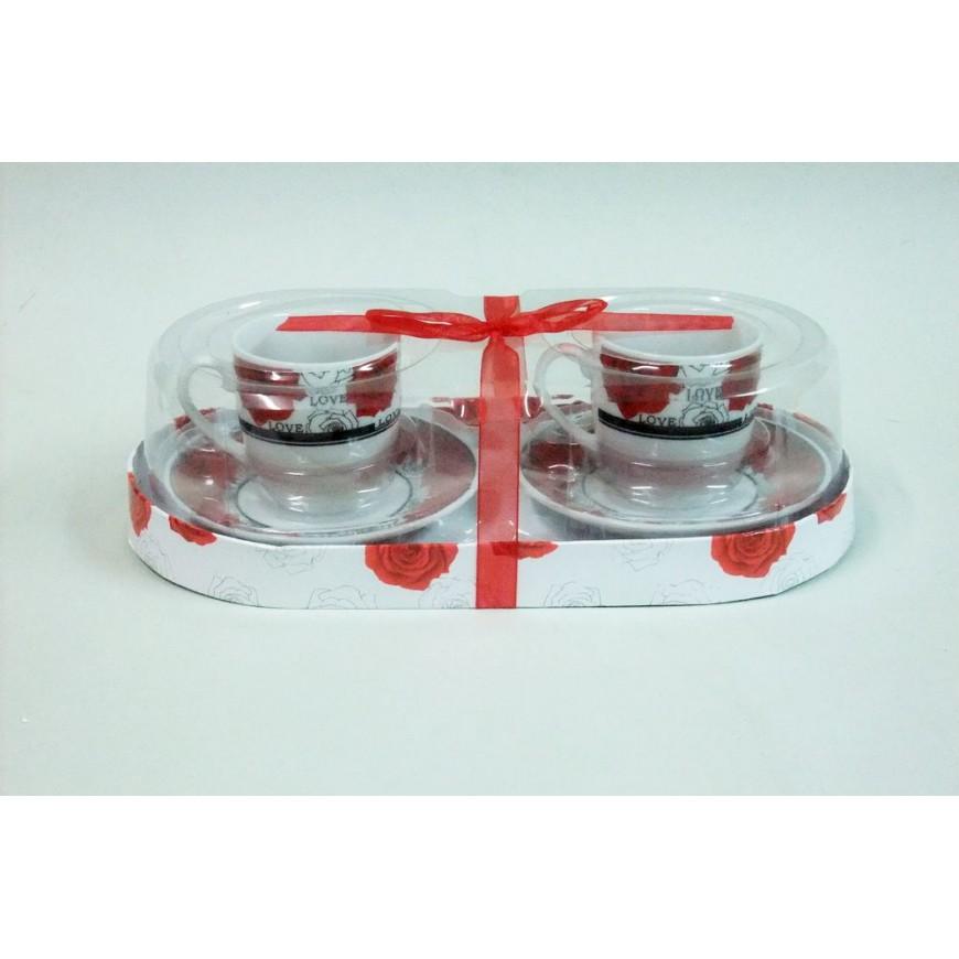 Šálky na espresso s tanierikom Červené kvietky