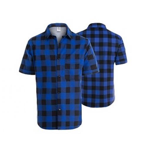 Košeľa flanelová modrá krátky rukáv
