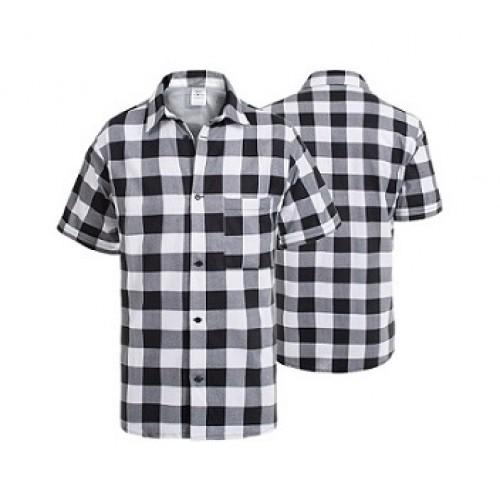 Košeľa flanelová bielo-čierna krátky rukáv