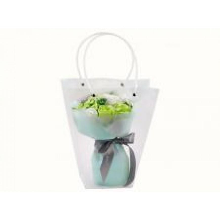 Kvety z mydla, kytica, zeleno-biela 25cm