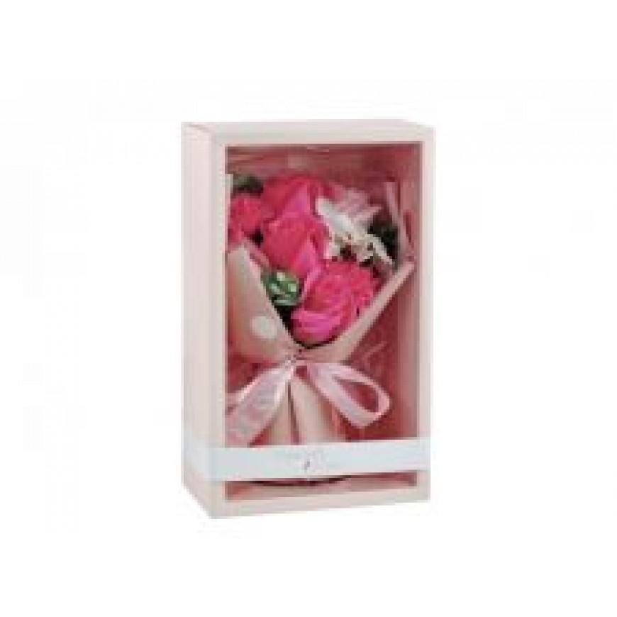 Kvety z mydla, kytica, ružovo-biela 13x27cm