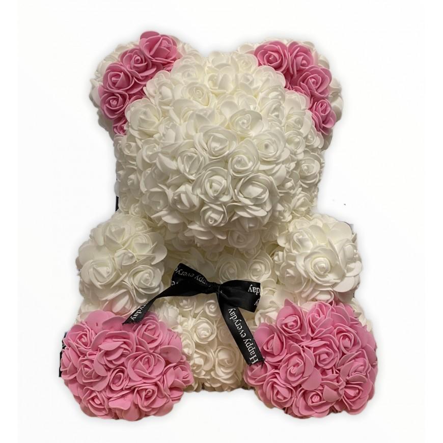Macko z umelých kvetov bielo-ružový 36cm