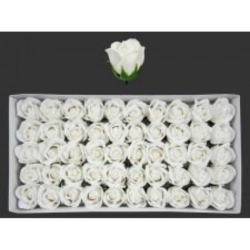 Ruže z mydla, kytica, biela, 6cm 50ks