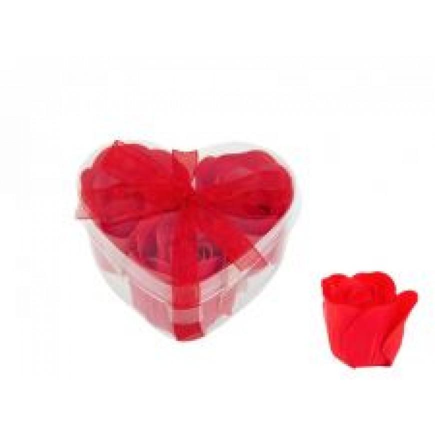 Ruže z mydla, kytica, červená, 4cm 3ks