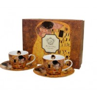 Šálky 110ml s tanierikmi Klimt